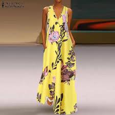 ZANZEA <b>Sexy</b> Fashion <b>Women Summer Floral</b> Long Maxi Dress ...