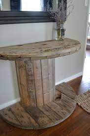 rustic style living room clever: living room decor rustic farmhouse style diy rustic spool half round console table