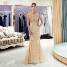 Gold Evening Dresses <b>Walk Beside You Mermaid</b> Beaded Crystal ...