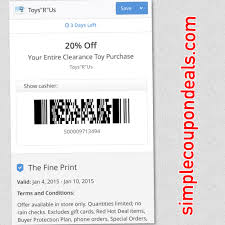 hot 20% off coupon toys r us clearance items simple coupon deals headed to toys r us don t forget to pull up this mobile coupon 20% off your entire clerance toy purchase being that it s just after christmas