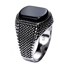 2019 <b>Turkey Jewelry Black Ring</b> Men Light Weight 6g Real 925 ...