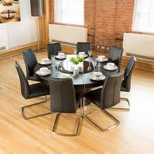 Dining Room Table And 8 Chairs Luxury Large Round Black Oak Dining Table Lazy Susan 8 Chairs