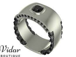 Men Wedding Band, Unique Men <b>Ring</b>,<b>Black Diamond</b> Wedding ...