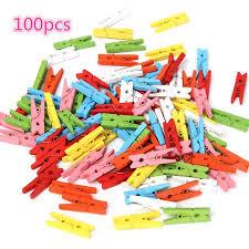 <b>100Pcs</b> 0.98in Multi <b>Colors Wooden</b> Craft Pegs Photo Paper ...