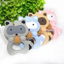 <b>Happyfriends</b> 1 Pcs Raccoon Silicone Teether <b>Baby</b> Teething Toys ...