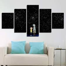 Rick And Morty <b>5 Piece HD</b> Multi Panel Canvas Wall Art Frame in ...
