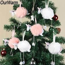 <b>OurWarm</b> 10Pcs White Pink Fluffy <b>Unicorn</b> Christmas Ornaments Fur ...