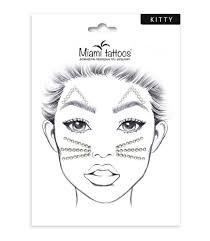 Miami Tattoos кристаллына клейком слое для <b>лица</b> Kitty