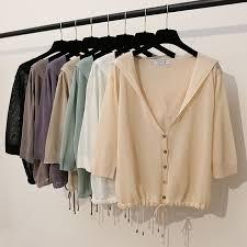 Hooded Thin Sweater Cardigan <b>Women</b> Silk Linen <b>Spring Summer</b> ...