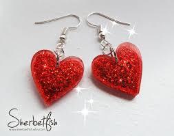 Red heart earrings, <b>resin</b> jewellery, drop earrings, <b>womens</b> jewellery ...