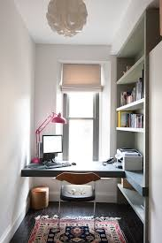 19hr example of a trendy home office design in other with a built in desk blue modern home office