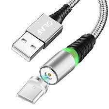 <b>OLAF</b> 3A Micro USB <b>Type</b>-<b>C</b> 360° Magnetic <b>Nylon</b> Weave Fast ...