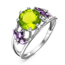 <b>Серебряное кольцо</b> с фианитом <b>салатового</b> цвета - 541