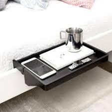 Bamboo Bedside Shelf / Space-Saving <b>Floating Nightstand</b> (in <b>Black</b> ...