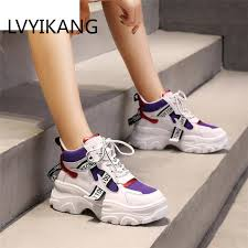 <b>2019 Spring New Leather</b> Women's Platform Chunky Sneakers ...
