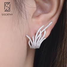 <b>SISCATHY</b> Unique Women Irregular Leaf Cluster Stud earrings Full ...
