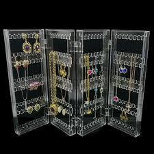 2019 <b>Foldable 4 Panel Clear</b> Acrylic Makeup Jewelry Organizer ...