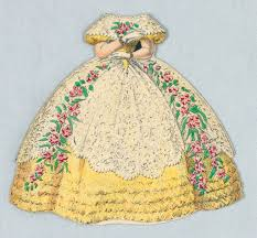 Paper Doll Costume in Yellow with White Lace and <b>Pink Rose</b> ...