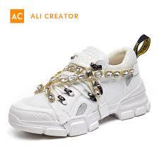 China <b>2019 New</b> Design Womens Glitter <b>Genuine Leather</b> Sneakers ...