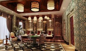 chinese style decor:  chinese style lounge room interior design rendering