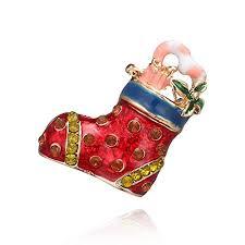 <b>Christmas Theme Brooch Pin</b> Crystal Rhinestone Enamel Red Boot ...