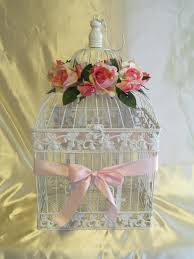 Shabby Chic Decor Birdcage Wedding Card Holder Wedding Card Box Glam Pink