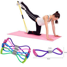New Gym <b>8 Word</b> Chest Developer Rubber LOOP Latex <b>Resistance</b> ...