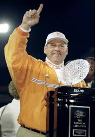 Phil Fulmer with the 1998 National Championship Trophy