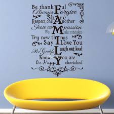 wall decal family art bedroom decor vinyl wall art stickers large family rules wall decals for living room decor wall art stickers bedroom wall stickers quote wall stickers online with