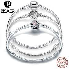 BISAER <b>Genuine 100</b>% <b>925</b> Sterling Silver Snake Chain Bangle ...
