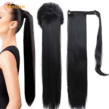 MEIFAN Long <b>Curly</b>/<b>Straight</b> Clip in Hair Tail Nature False <b>Ponytail</b> ...