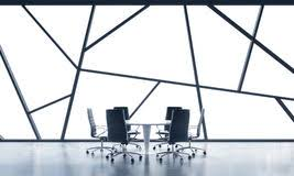 a meeting room in a bright contemporary panoramic office space with white copy space in the bright modern office space