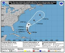 Jerry downgraded to tropical storm; forecasters eye two other ...