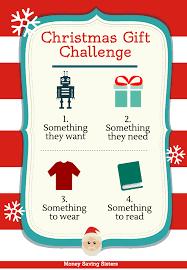 4 gift christmas challenge want need wear money christmas gift