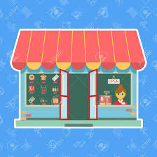 vector shop front or store a s assistant or customer vector vector shop front or store a s assistant or customer looking through the window alongside a till and merchandise on display in the other