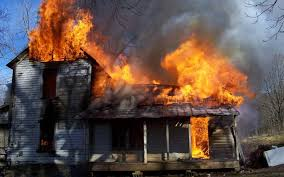 Image result for image of a burning house