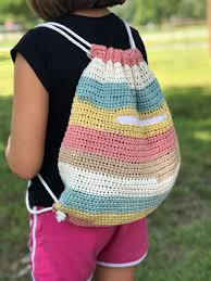 <b>Cinch Sack</b> Drawstring Backpack Crochet Pattern by Crochet it ...