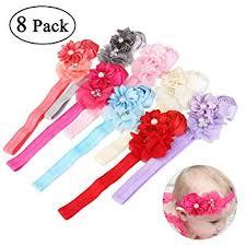 NUOLUX 8pcs <b>Cute Baby Girls</b> Sweet Rose Flowers Pearl Elastic ...