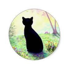 Image result for black cat with green eyes cartoon in heaven