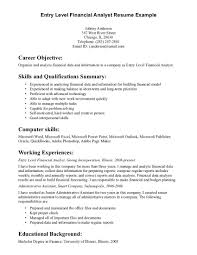 Resume Template: Finance Internship Resume Objective Resume ... ... Resume Template, Entry Level Financial Analyst Resume Example For Career Objective With Skills And Qualifications ...