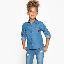 """<b>Рубашка джинсовая</b> с рисунком """"сердце"""", 3-12 лет голубой ..."""