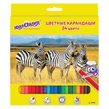 <b>Карандаши цветные ЮНЛАНДИЯ МИР</b> ЖИВОТНЫХ, 24 цвета ...