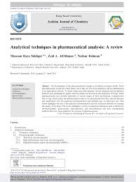 analytical techniques in pharmaceutical analysis a review pdf analytical techniques in pharmaceutical analysis a review pdf available