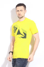 Reebok <b>mens printed round</b> neck t shirtultimate yellow | Brands For ...