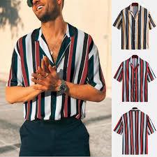 2019 <b>New Men's Summer Fashion</b> Tops Shirts Casual Striped ...