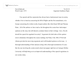 argument synthesis paper on free speech   university social  document image preview