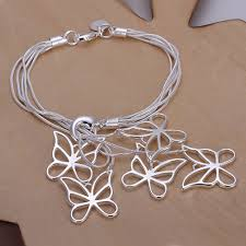 Fashion <b>925 Sterling Silver</b> Double Hook Butterfly-shaped Bracelet