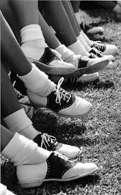 Image result for images girls wearing brown and white saddle shoes fifties