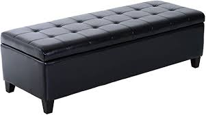 "HOMCOM <b>Large</b> 51"" Tufted Faux Leather Ottoman <b>Storage Bench</b>"