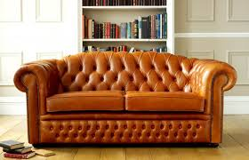 Chesterfield sofa / leather / wool /